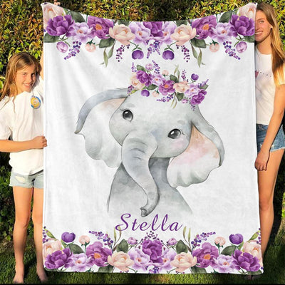 Personalized Name Fleece Blanket 13-Elephant