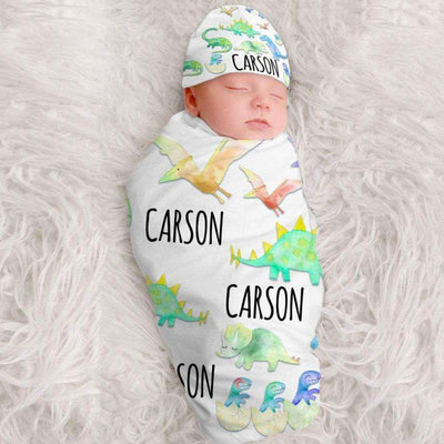 Personalized Baby Swaddle Fleece Blanket Dinosaur1