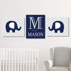 Custom Elephant Nursery Canvas WallArt 02 Set of 3 Prints