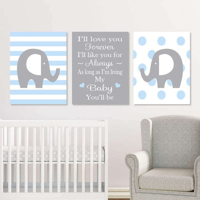 Elephant Nursery Canvas WallArt 04 Set of 3 Prints