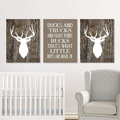 Deer Nursery Canvas WallArt 01 Set of 3 Prints