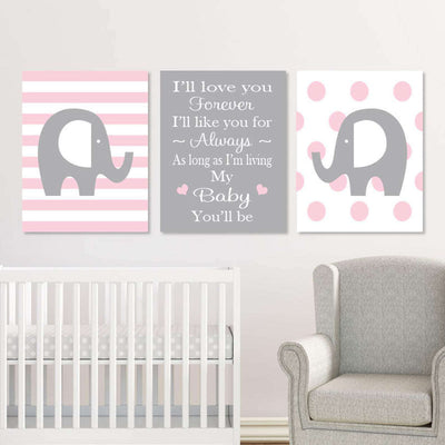 Elephant Nursery Canvas WallArt 03 Set of 3 Prints