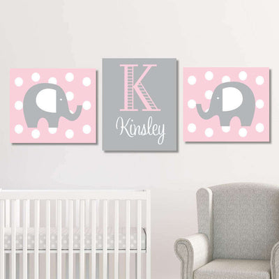 Custom Elephant Nursery Canvas WallArt 06 Set of 3 Prints