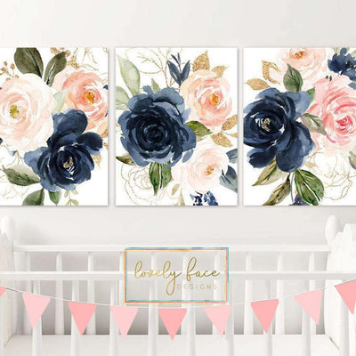 Watercolor Floral Nursery Canvas WallArt 05 Set of 3 Prints