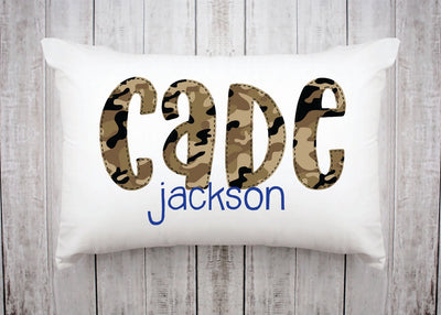 Personalized Kids Name Pillow 19 -Brown Camo