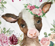 Personalized Name Fleece Blanket-Cow I02