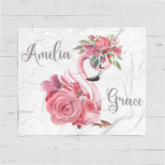 Flamingo - Personalized Name Fleece Blanket 04