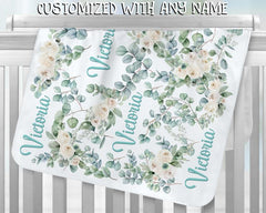 Personalized Name Fleece Blanket - Teal Flower
