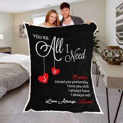 Personalized Lover's Name  Fleece Blanket-Lovewords