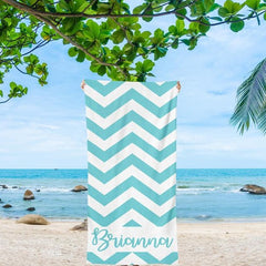 Personalized Chevron Beach Towels