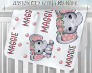 Personalized Name Fleece Blanket 23-Elephant