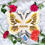 Personalized Wooden LED night lamp 01-Butterfly