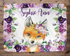 Personalized Name Fleece Blanket Fox 05