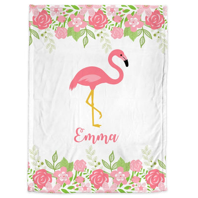 Flamingo - Personalized Name Fleece Blanket 07