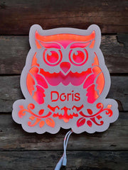 Personalized Wooden LED night lamp 02-Owl