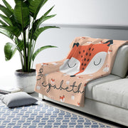 Personalized Name Fleece Blanket Fox 07