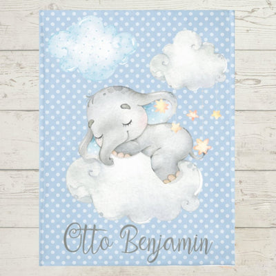 Personalized Name Fleece Blanket - Elephant15 Blue