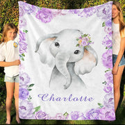 Personalized Name Fleece Blanket 16-Elephant