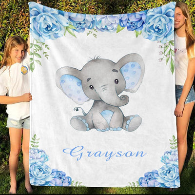 Personalized Name Fleece Blanket 17-Elephant