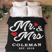 Mr And Mrs Personalized Blanket With Name And Wedding Year