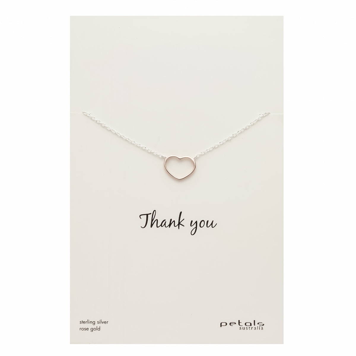 Open Heart Necklace - Silver & Rose Gold
