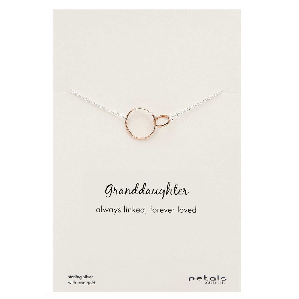 Granddaughter Linked Circle Necklace - Silver & Rose Gold