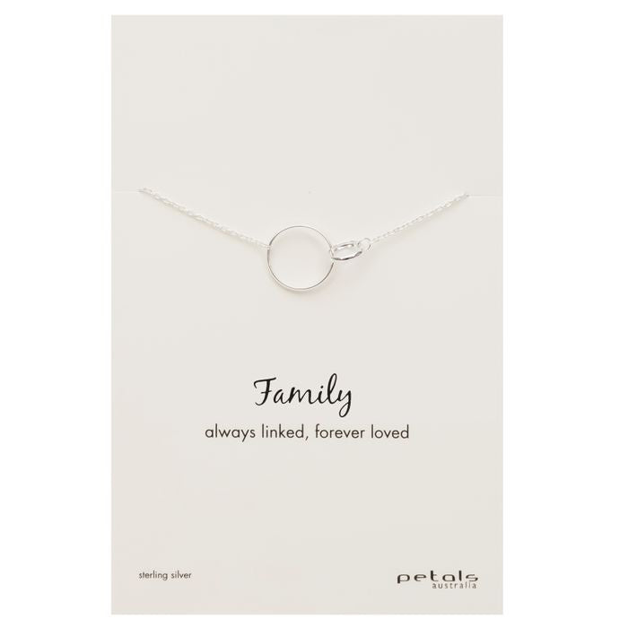 Family Linked Circle Necklace - Silver