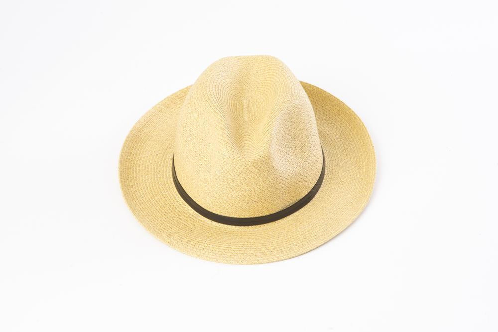 Borsalino hat with leather strap - Straw