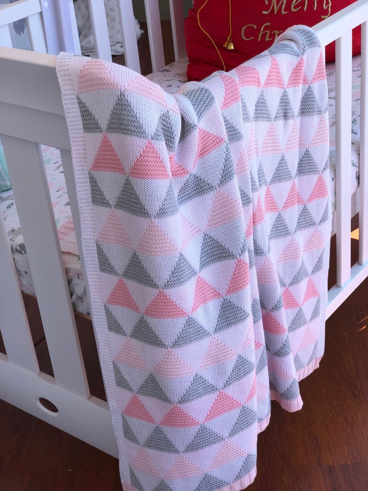 Triangles Pink Cot Blanket