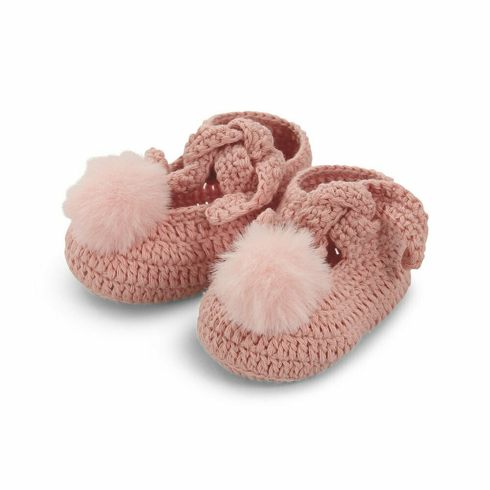 Ollie Faux Fur Pom Pom Cotton Booties - Peach