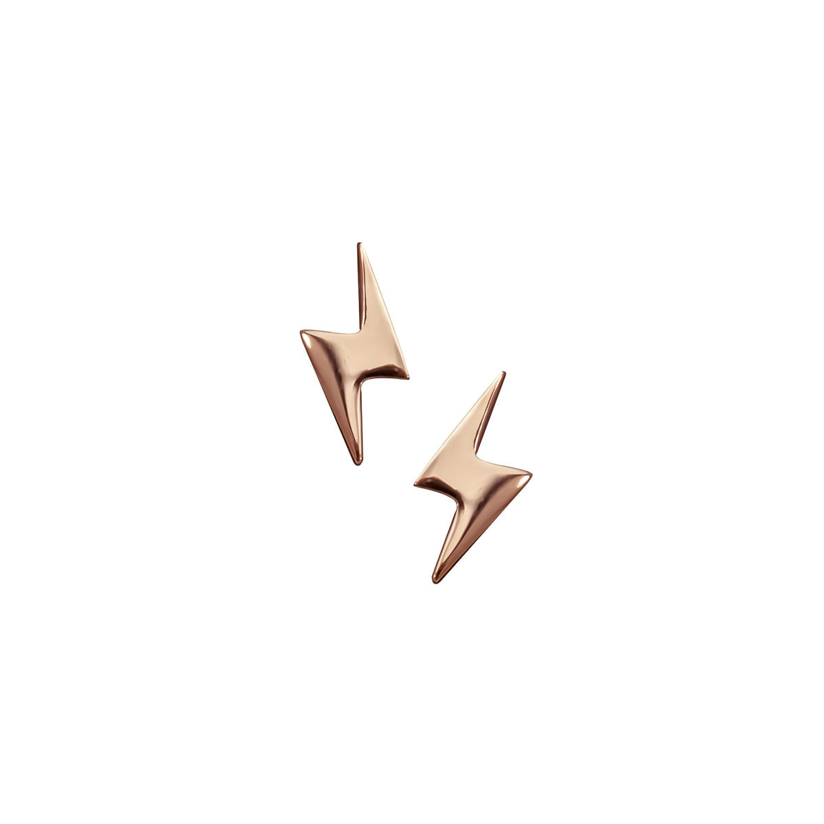 Lightening Bolt Earrings - Rose Gold