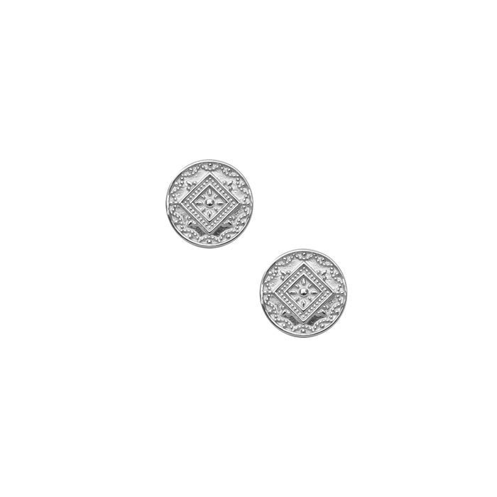 Aztec Stud Earrings - Silver