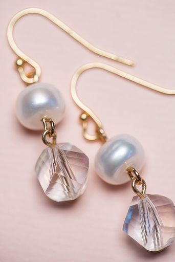 Crystal & Pearl Earrings - Clear