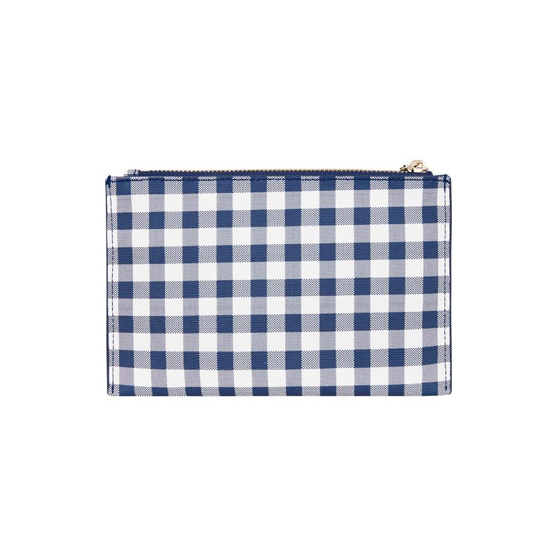 New York Coin Purse - Navy Gingham
