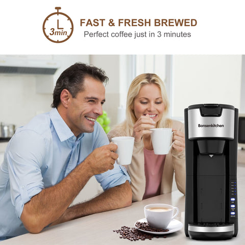 Bonsenkitchen 2 in 1 Compact and Durable Coffee Maker