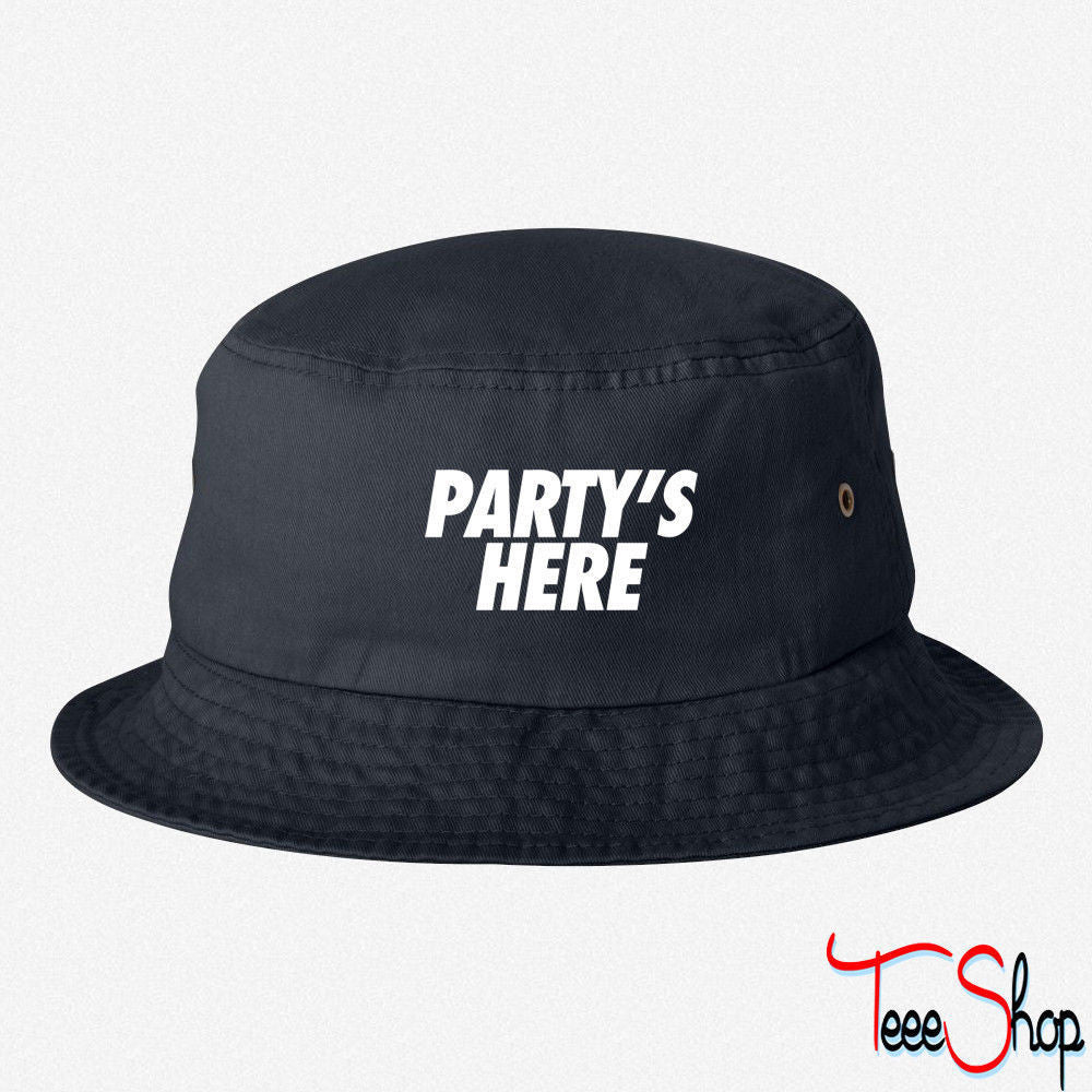 PARTYS HERE EMBROIDERED BUCKET HAT