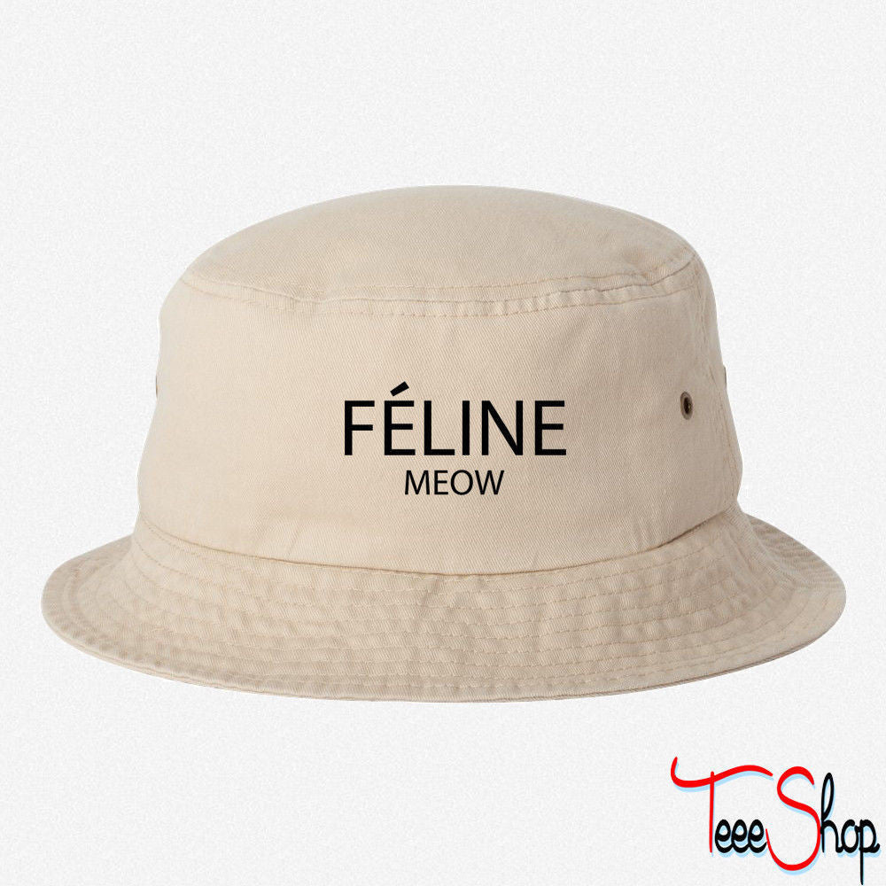 FELINE MEOW EMBROIDERED BUCKET HAT