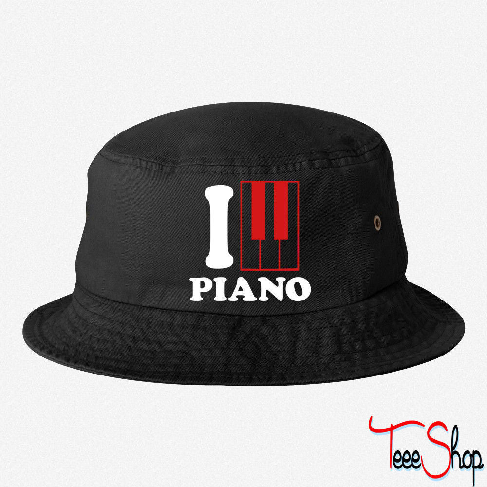 I Love Piano Logo bucket hat