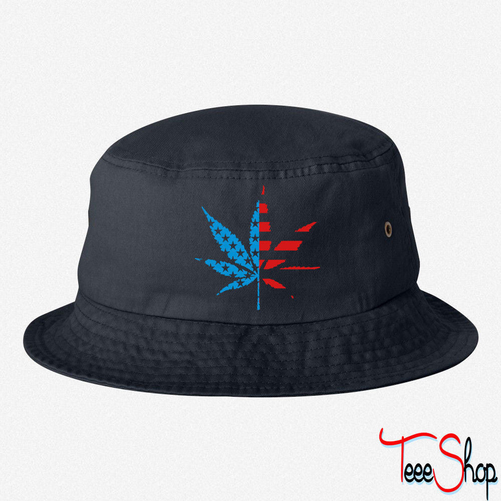 Marijuana Leaf American Flag BUCKET HAT