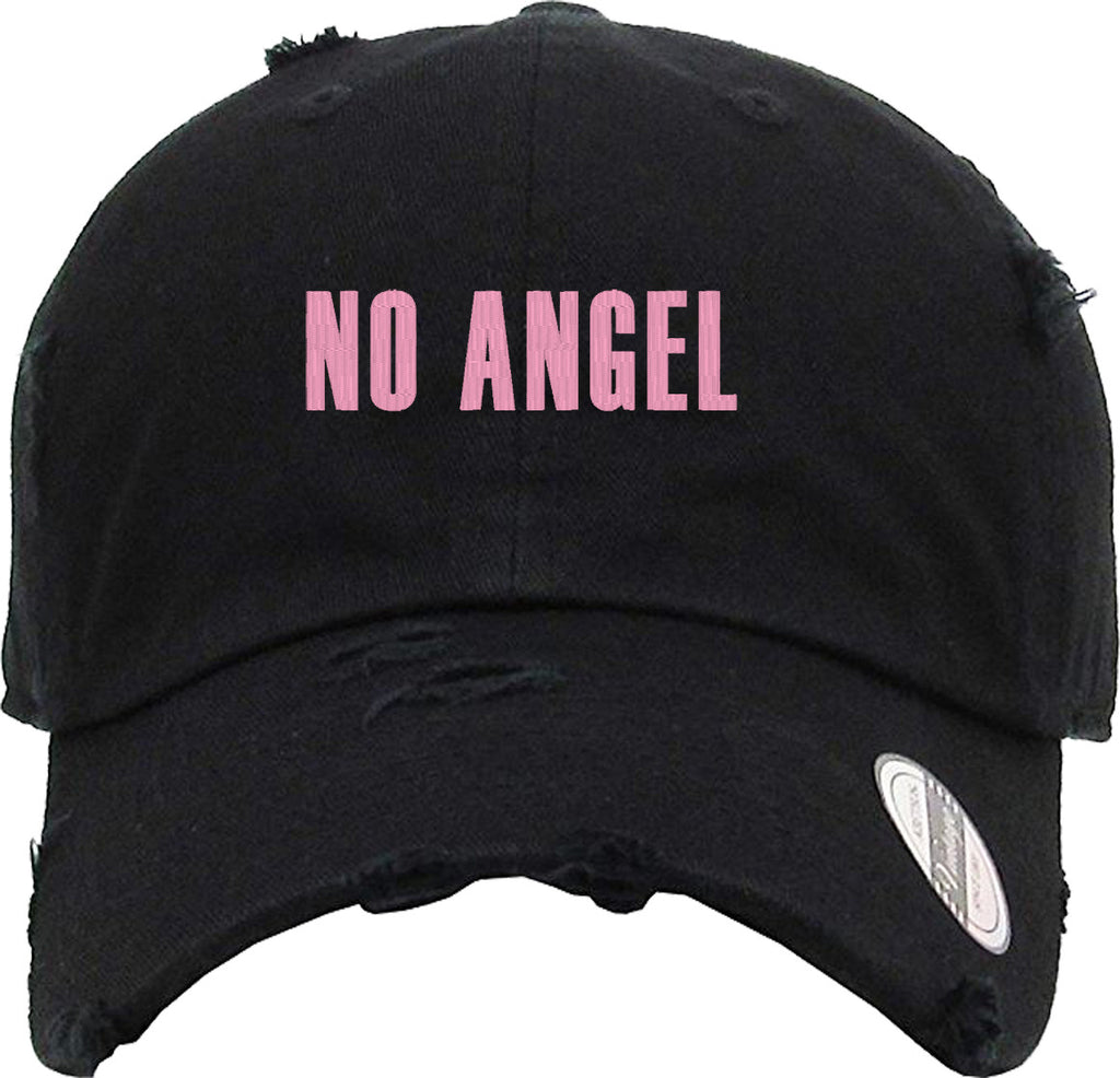 NO ANGELS Distressed Baseball Hat