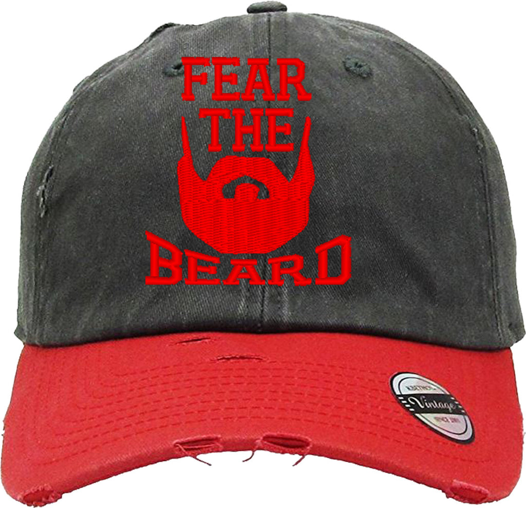 FEAR THE BEARD Distressed Baseball Hat