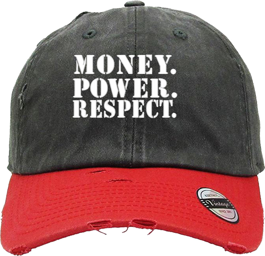 MONEY POWER RESPECT Distressed Baseball Hat