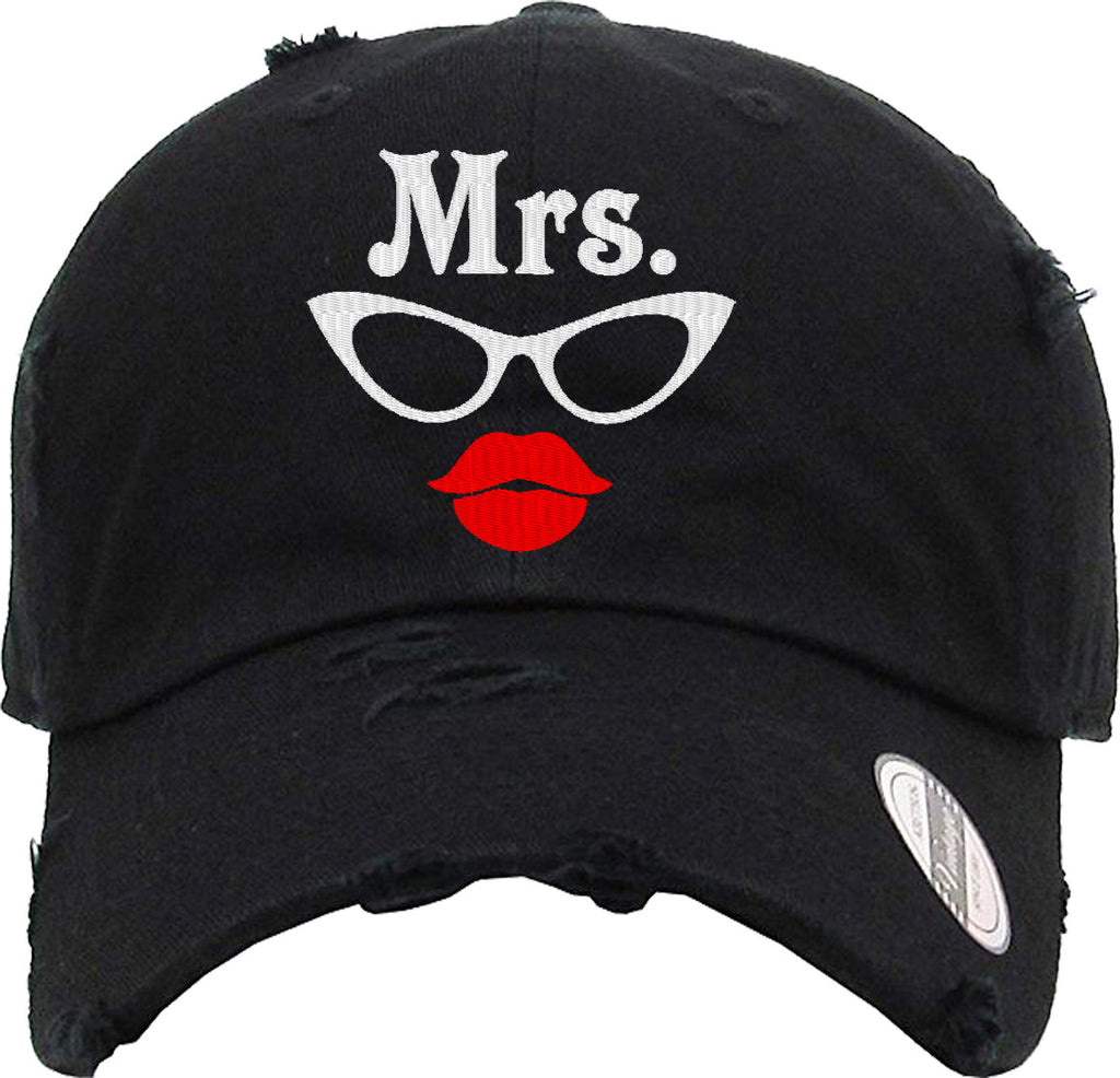 MRS LIPS Distressed Baseball Hat