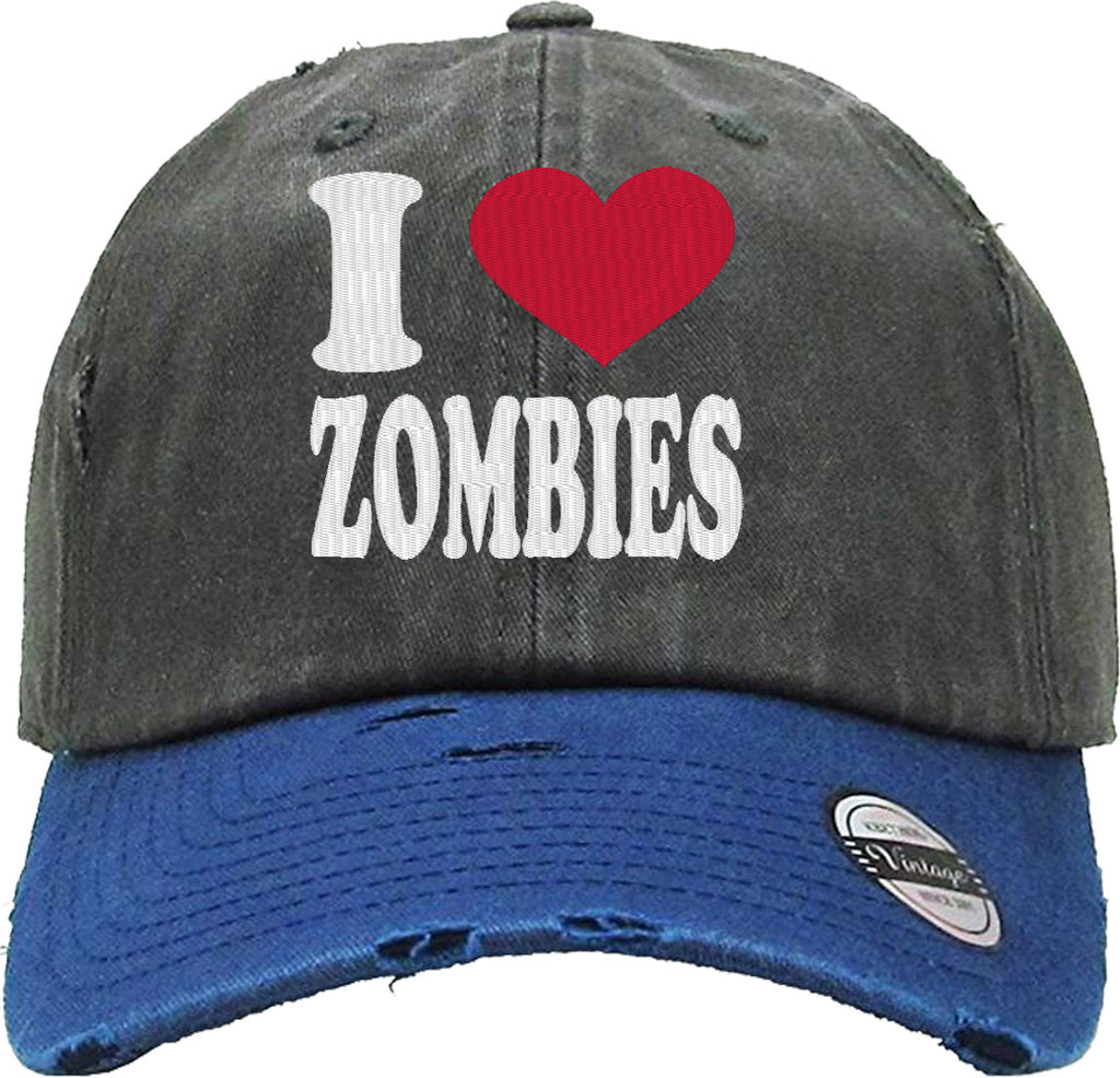 I LOVE ZOMBIES Distressed Baseball Hat