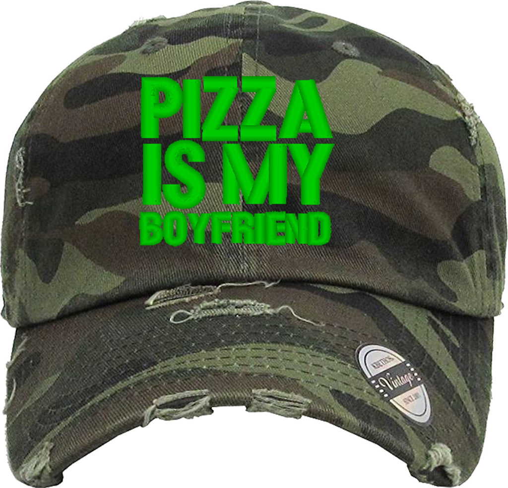 pizza is my boyfriend Distressed Baseball Hat