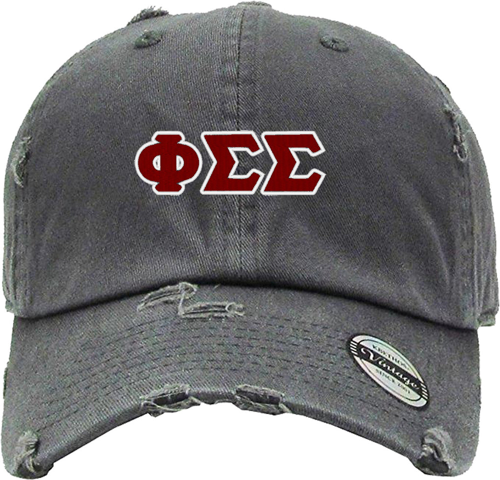 phi sigma sigma Distressed Baseball Hat