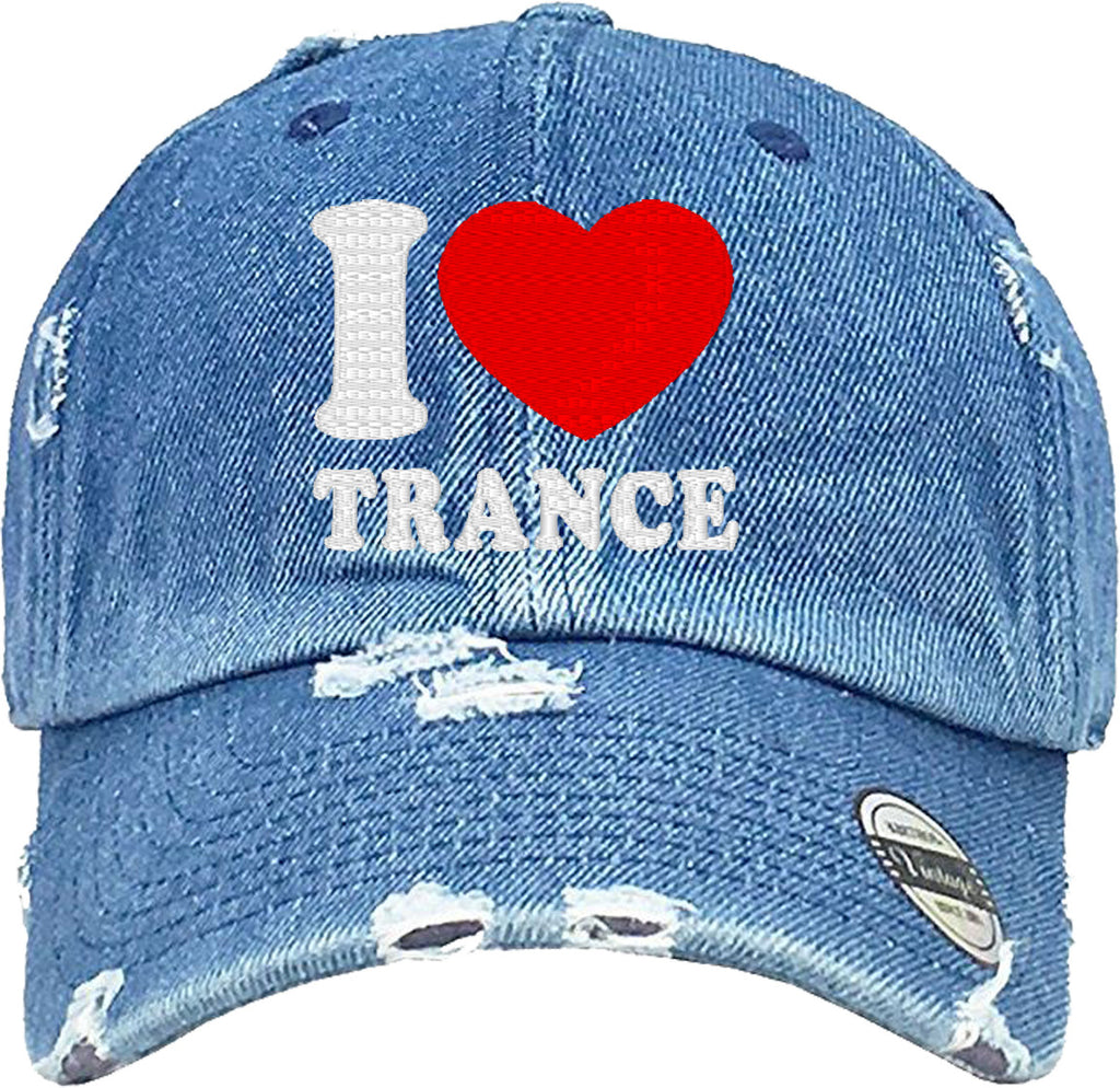 i love trance Distressed Baseball Hat