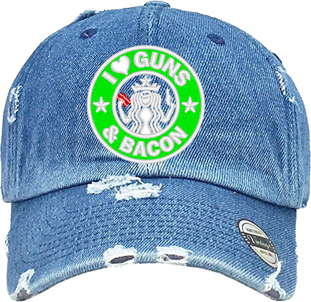 I LOVE GUNS Distressed Baseball Hat