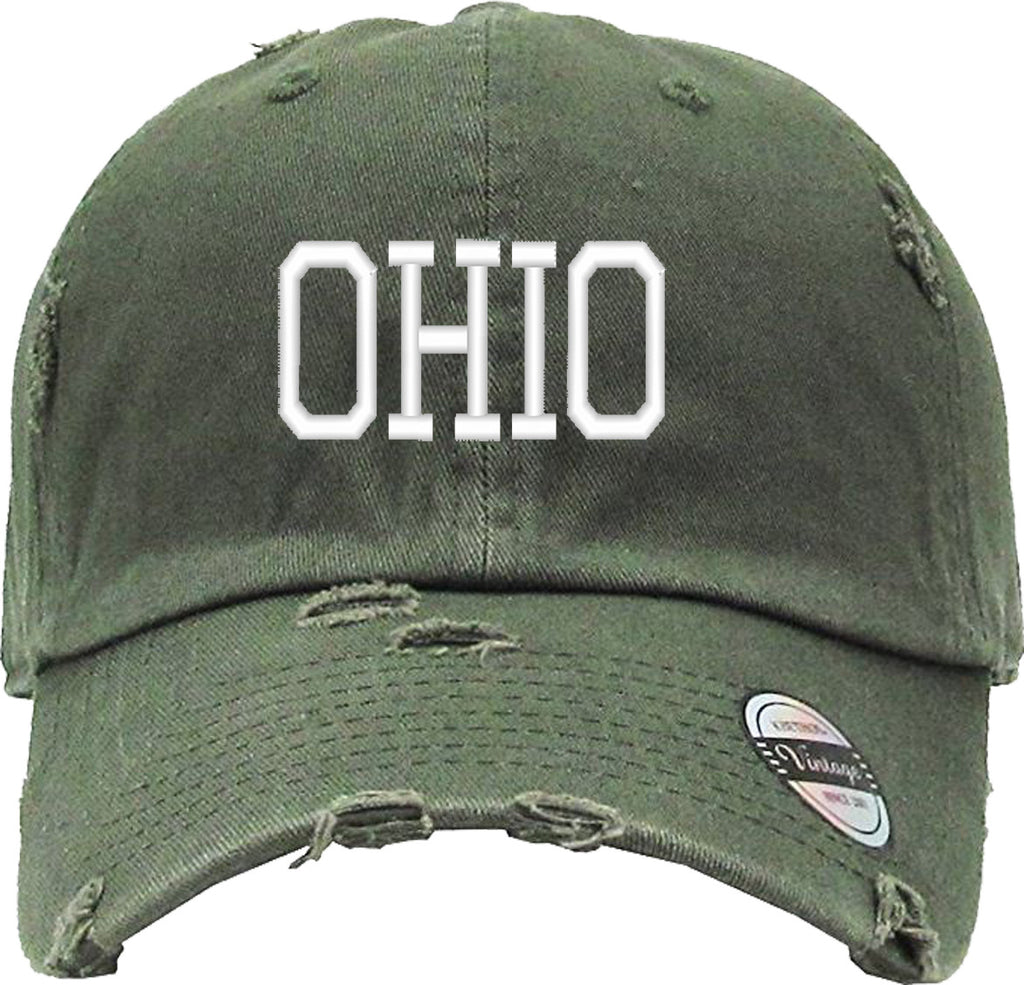 OHIO Distressed Baseball