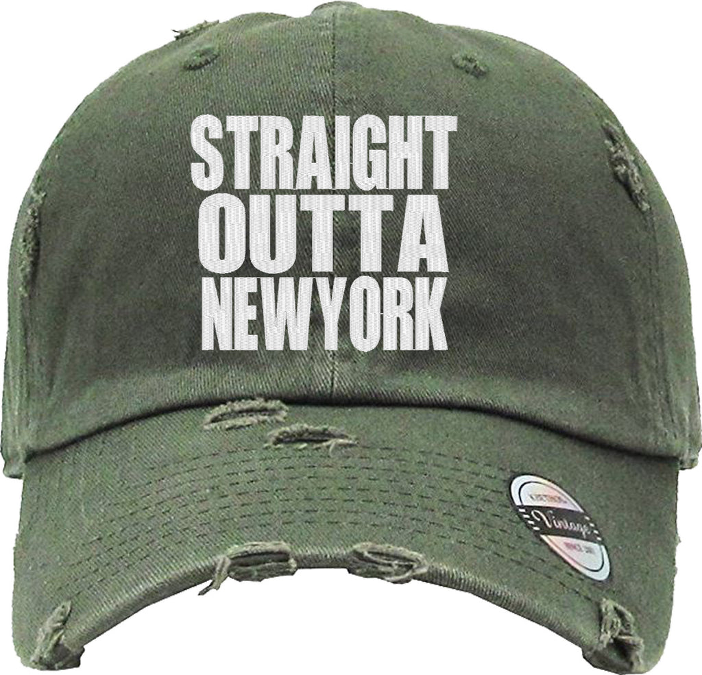 STRAIGHT OUTTA NEWYORK Distressed Baseball Hat